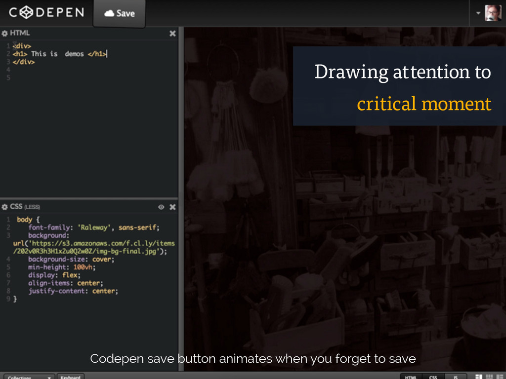 Codepen save button animates when you forget to...