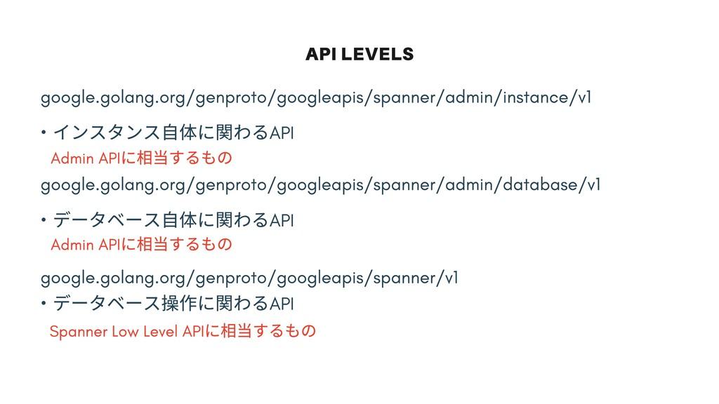 API LEVELS google.golang.org/genproto/googleapi...