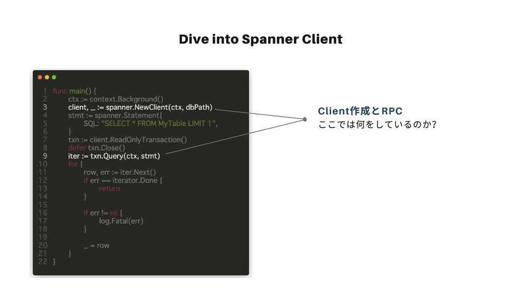 Dive into Spanner Client ここでは何をしているのか? Client 作...