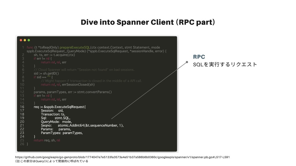 Dive into Spanner Client (RPC part) SQL を実⾏するリク...