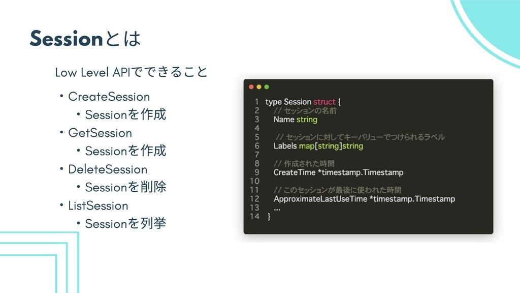 Session とは Low Level API でできること ・ CreateSession...