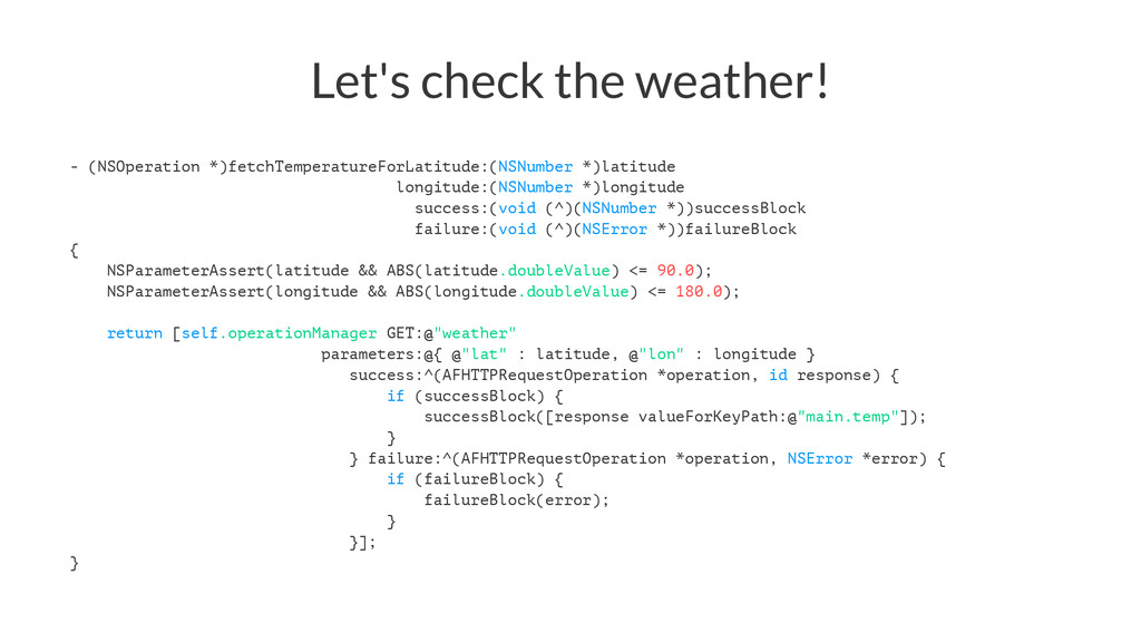 Let's check the weather! - (NSOperation *)fetch...