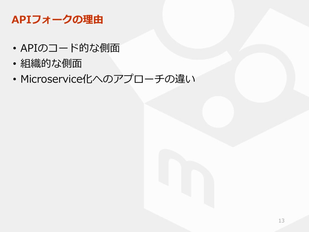 APIフォークの理由 • APIのコード的な側面 • 組織的な側面 • Microservic...