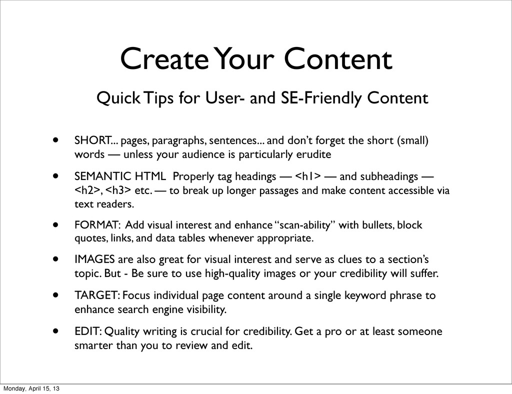 Quick Tips for User- and SE-Friendly Content • ...