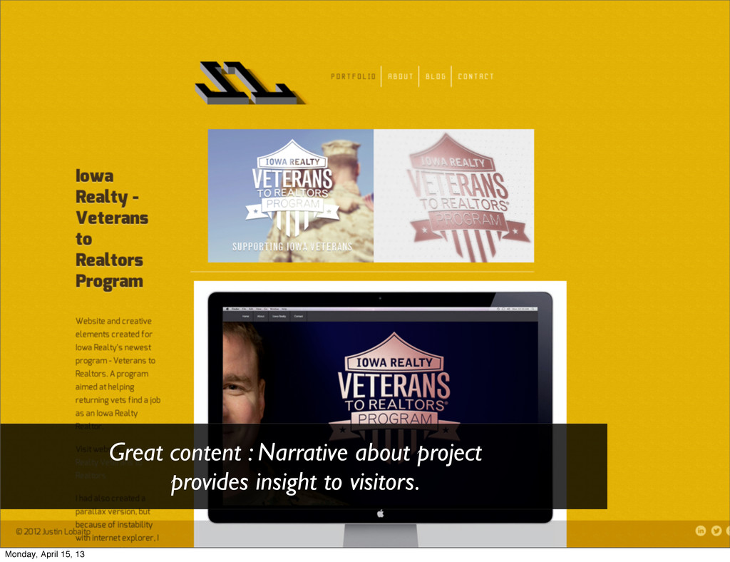 Great content : Narrative about project provide...