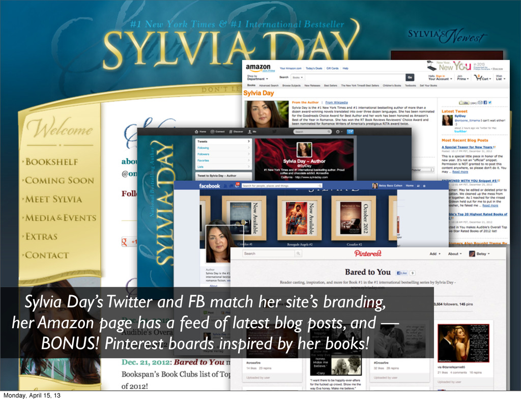 Sylvia Day's Twitter and FB match her site's br...