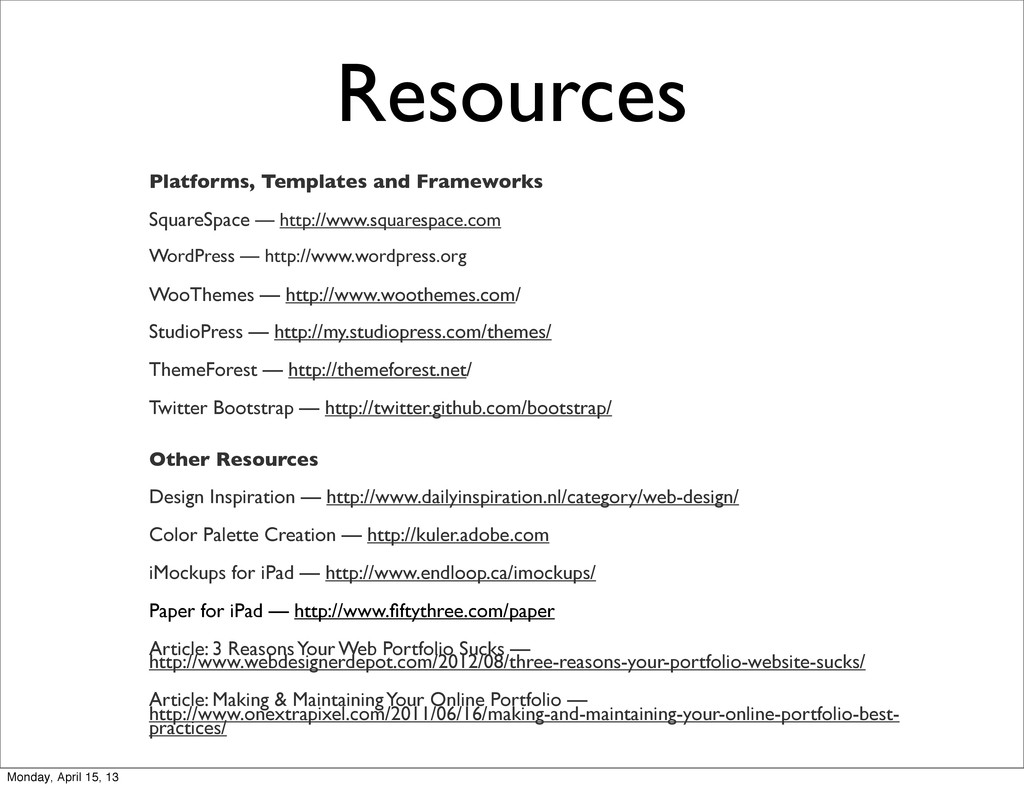 Resources Platforms, Templates and Frameworks S...