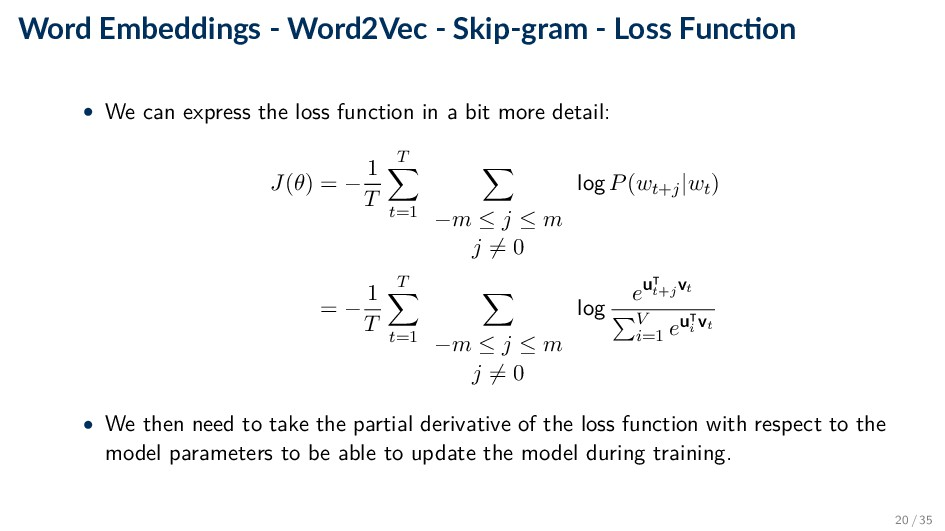 Word Embeddings - Word2Vec - Skip-gram - Loss F...