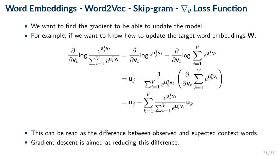 Word Embeddings - Word2Vec - Skip-gram - ∇θ Los...