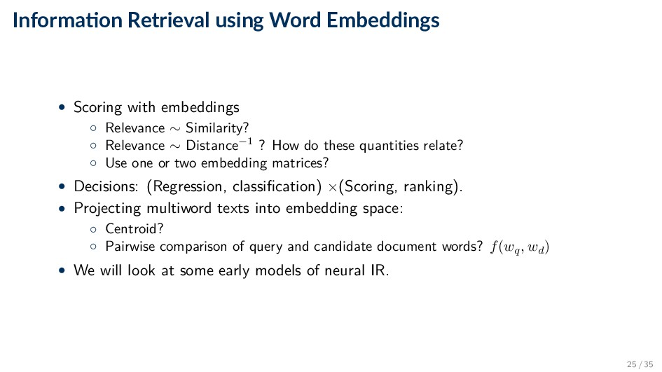 Informa on Retrieval using Word Embeddings • Sc...