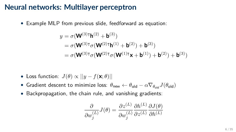 Neural networks: Mul layer perceptron • Example...