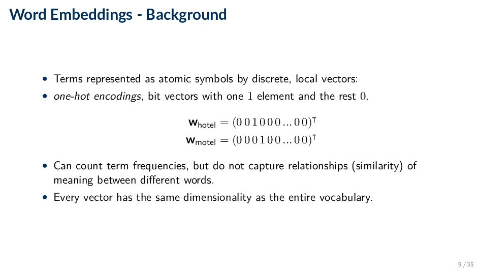 Word Embeddings - Background • Terms represente...