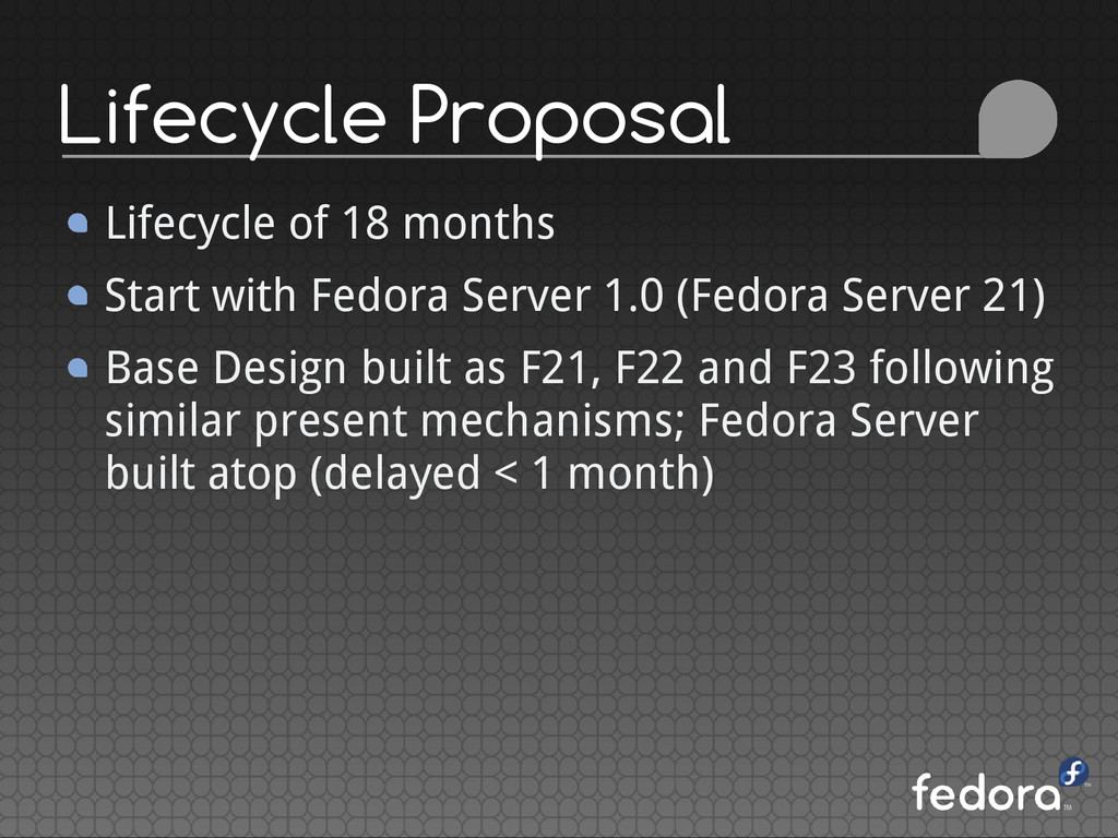 Lifecycle Proposal Lifecycle of 18 months Start...