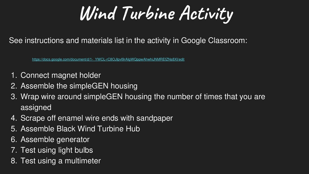 W ind Turbine Activity See instructions and mat...