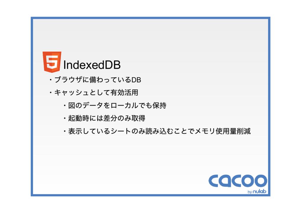 IndexedDB ・ブラウザに備わっているDB ・キャッシュとして有効活用 ・図のデータをロ...