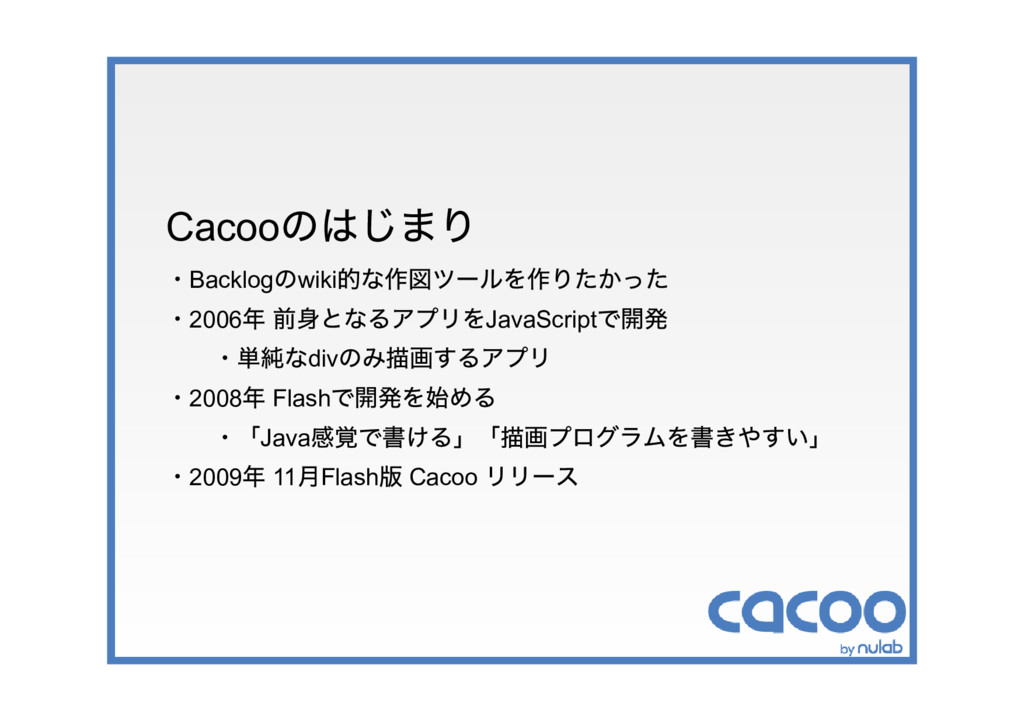 Cacoo のはじまり ・Backlog のwiki 的な作図ツールを作りたかった ・2006...
