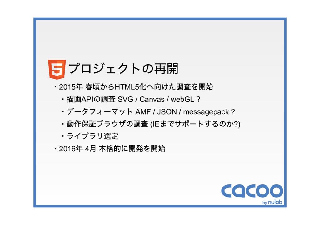 プロジェクトの再開 ・2015 年 春頃からHTML5 化へ向けた調査を開始 ・描画API の...