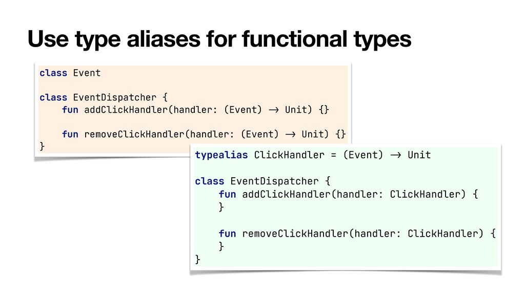 Use type aliases for functional types class Eve...