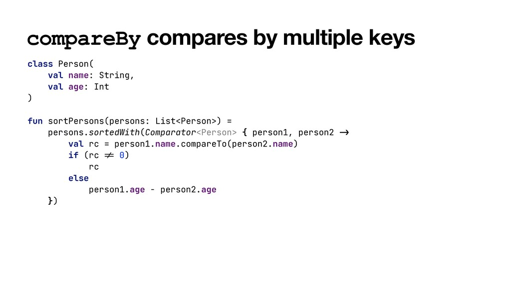 compareBy compares by multiple keys class Perso...