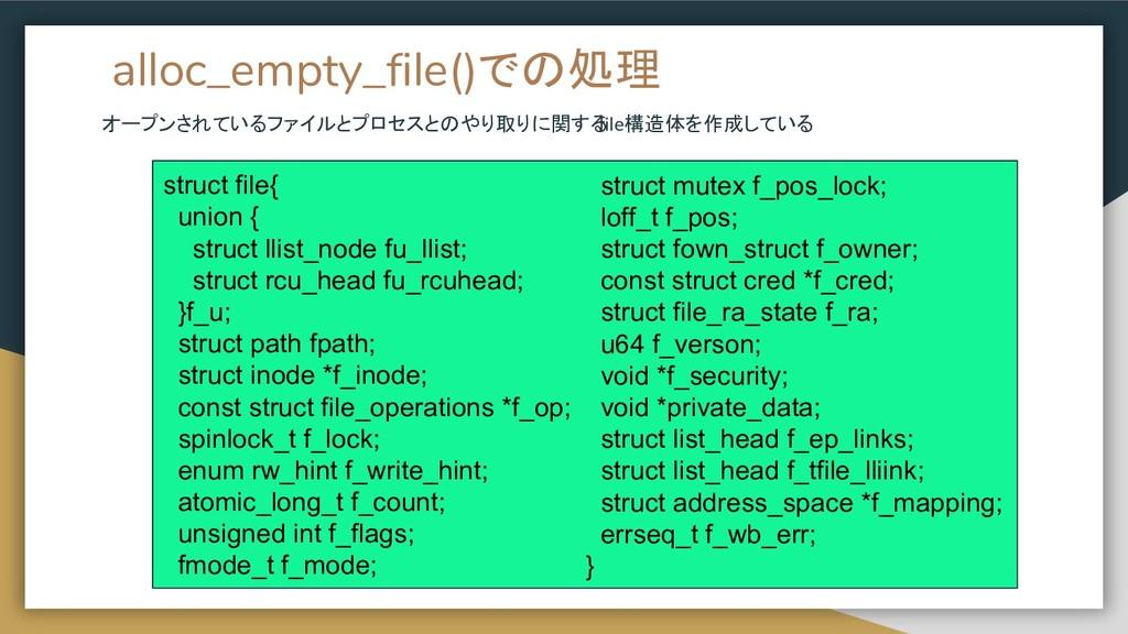 alloc_empty_file()での処理 オープンされているファイルとプロセスとのやり取り...