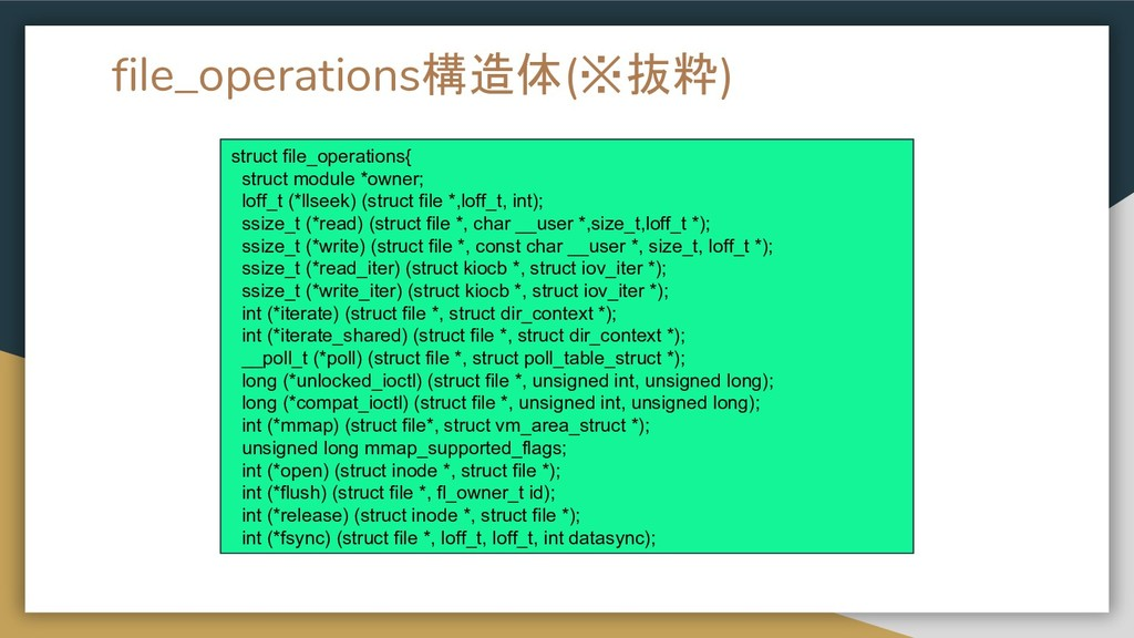 file_operations構造体(※抜粋) struct file_operations{...