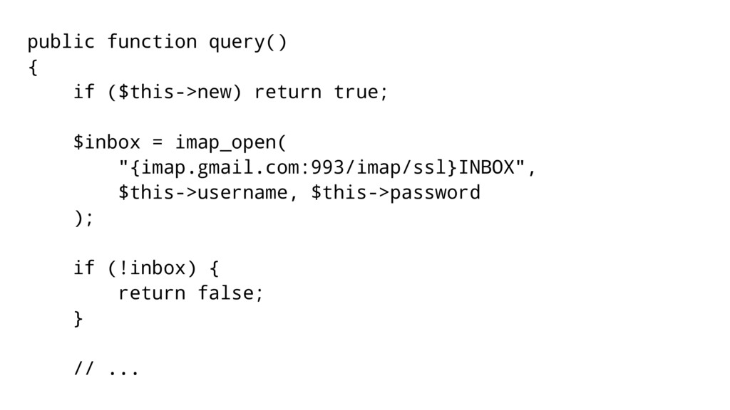 public function query() { if ($this->new) retur...