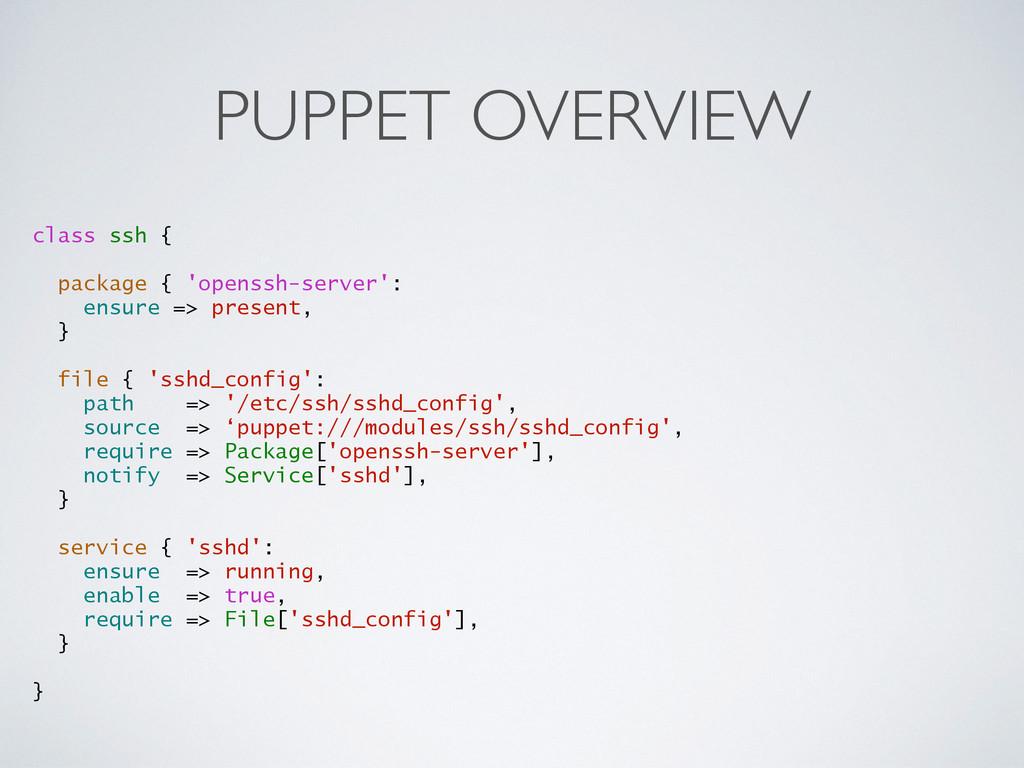 PUPPET OVERVIEW class ssh { package { 'openssh-...