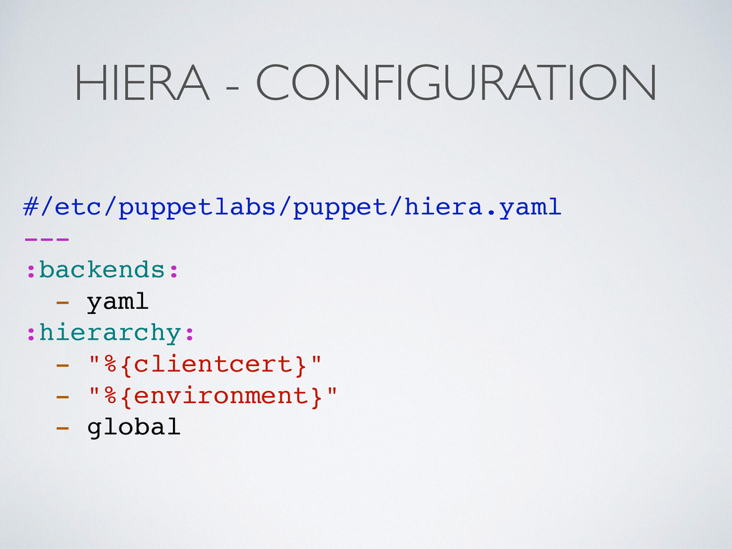 HIERA - CONFIGURATION #/etc/puppetlabs/puppet/h...