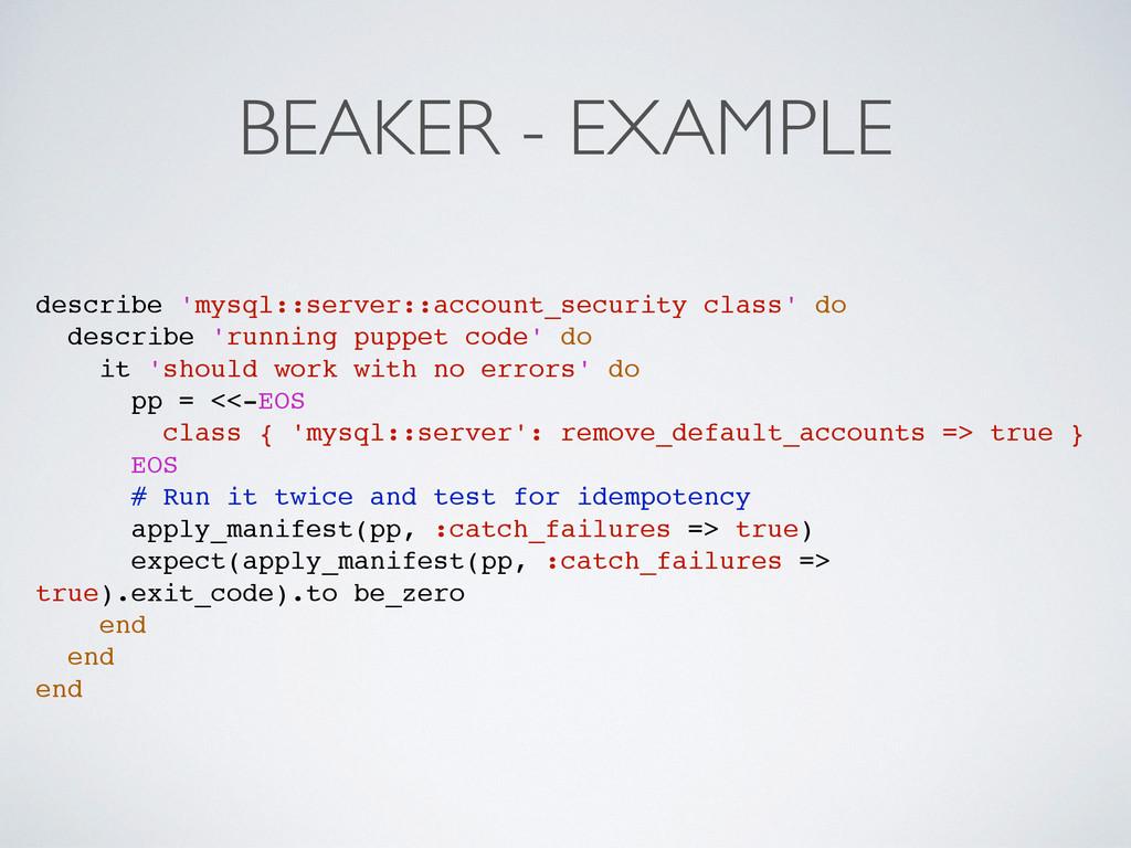 BEAKER - EXAMPLE describe 'mysql::server::accou...