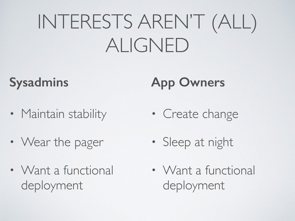 INTERESTS AREN'T (ALL) ALIGNED Sysadmins • Main...