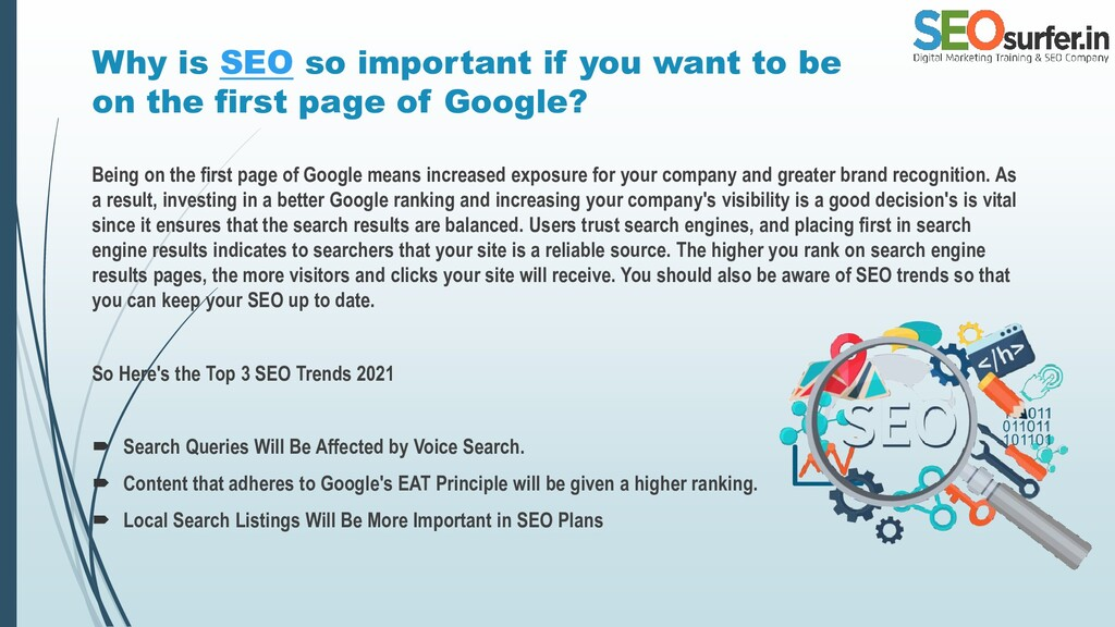 Why is SEO so important if you want to be on th...