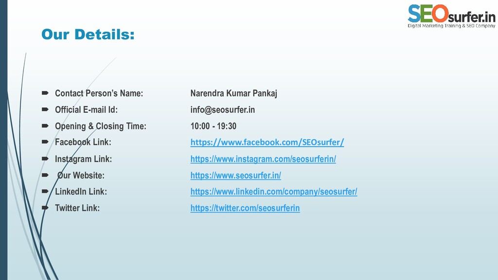 Our Details:  Contact Person's Name: Narendra ...