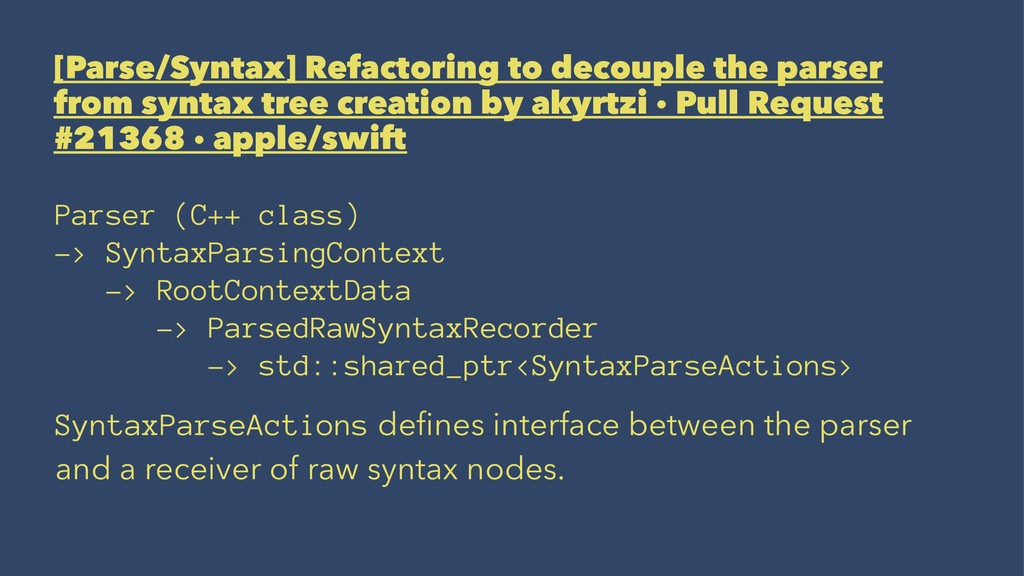 [Parse/Syntax] Refactoring to decouple the pars...