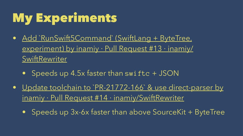 My Experiments • Add `RunSwift5Command` (SwiftL...