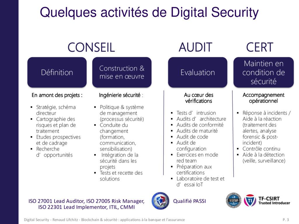 Quelques activités de Digital Security Maintien...