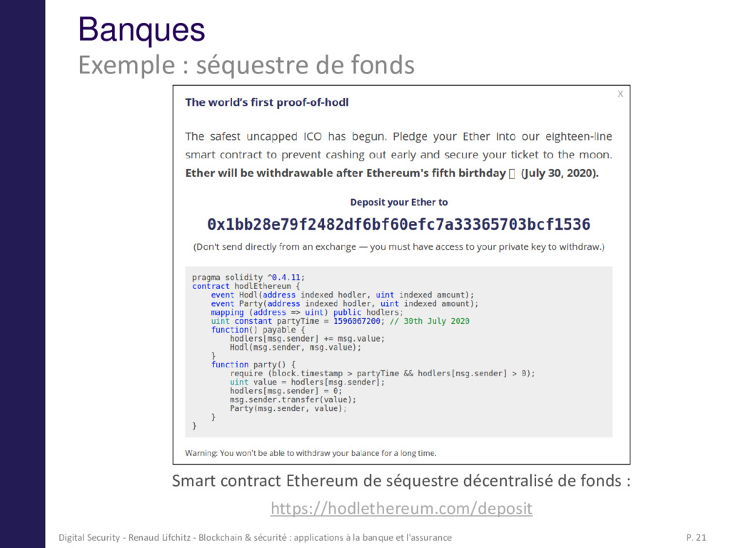 Banques Smart contract Ethereum de séquestre dé...