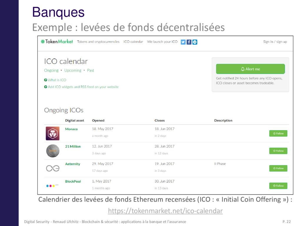 Banques Calendrier des levées de fonds Ethereum...