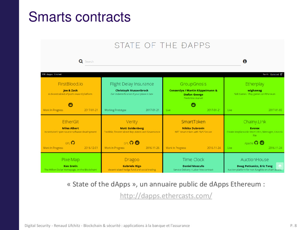 Smarts contracts « State of the dApps », un ann...
