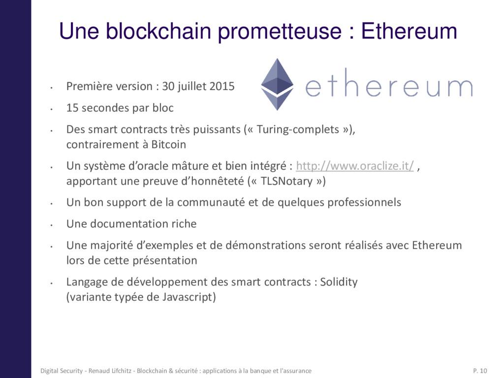 Une blockchain prometteuse : Ethereum • Premièr...