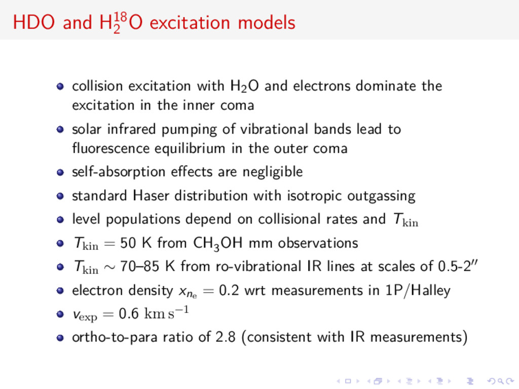 HDO and H18 2 O excitation models collision exc...