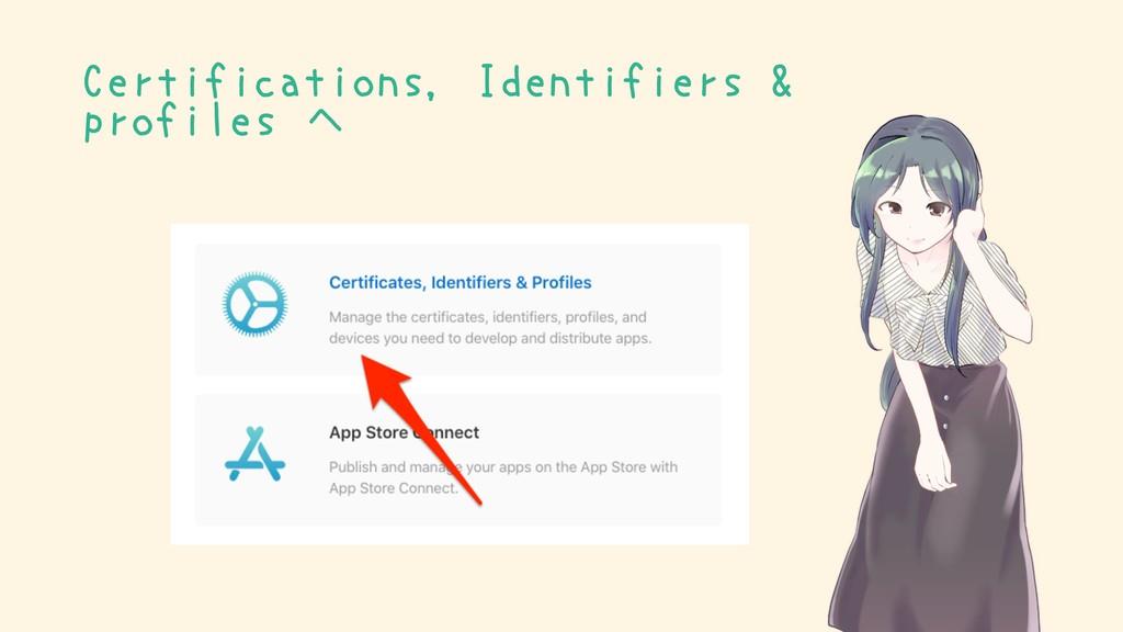 Certifications, Identifiers & profiles へ