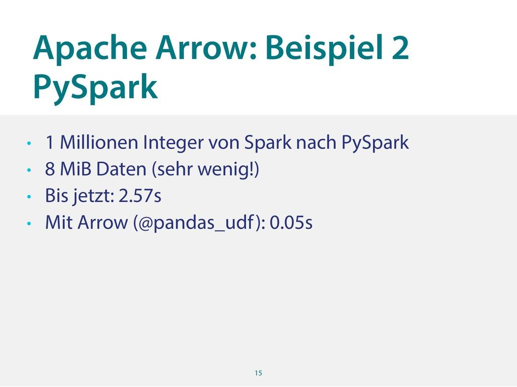 Apache Arrow: Beispiel 2 PySpark 15 • 1 Million...