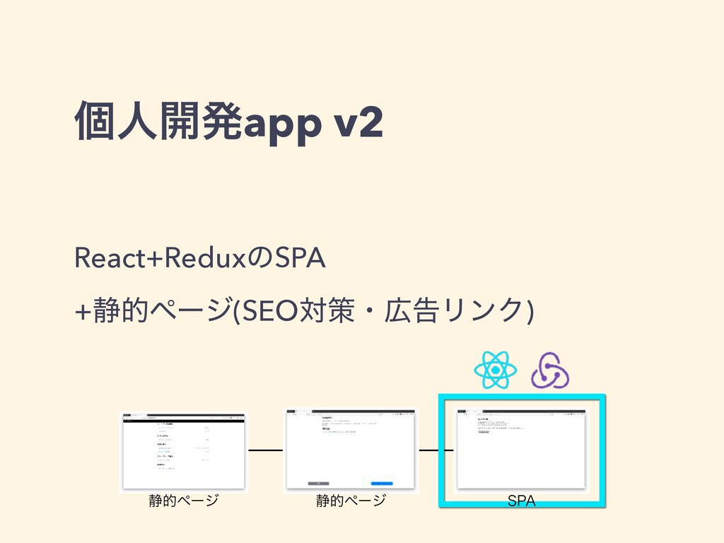 React+ReduxͷSPA +੩తϖʔδ(SEOରࡦɾࠂϦϯΫ) ݸਓ։ൃapp v2 ...