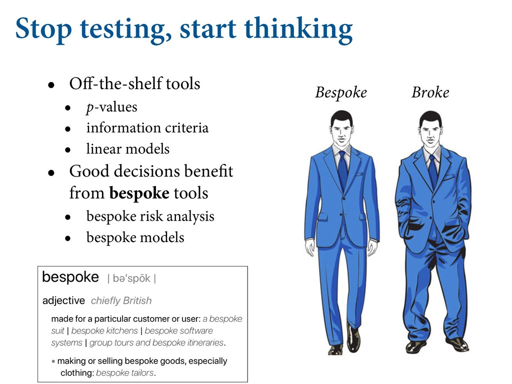 Stop testing, start thinking • Off-the-shelf too...