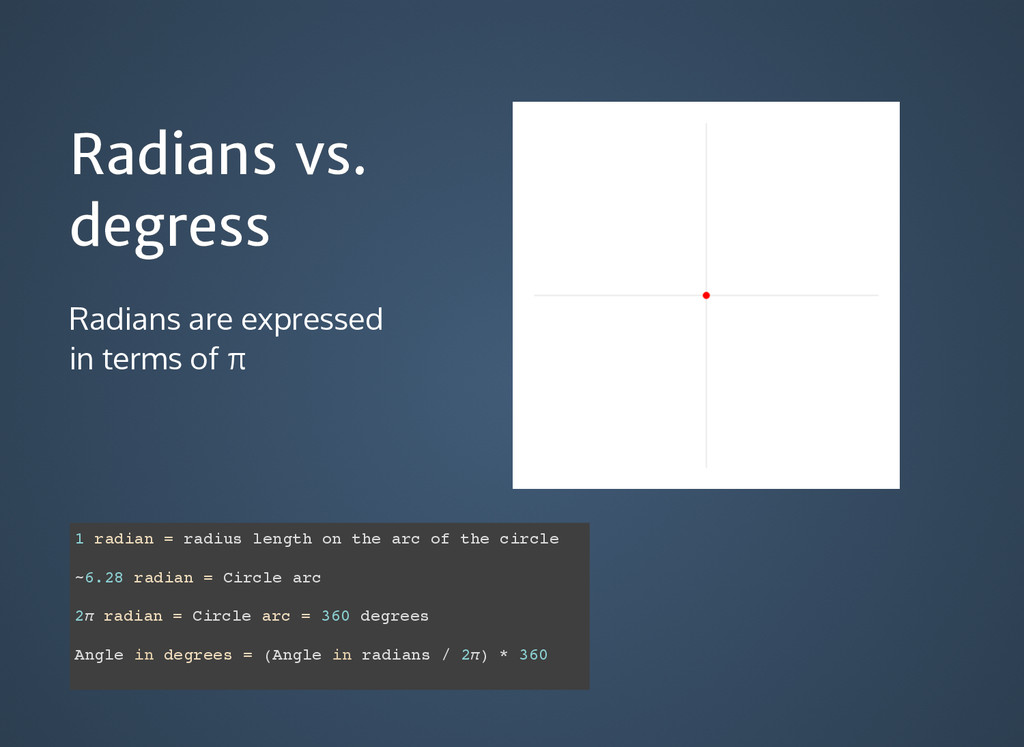 Radians vs. Radians vs. degress degress Radians...