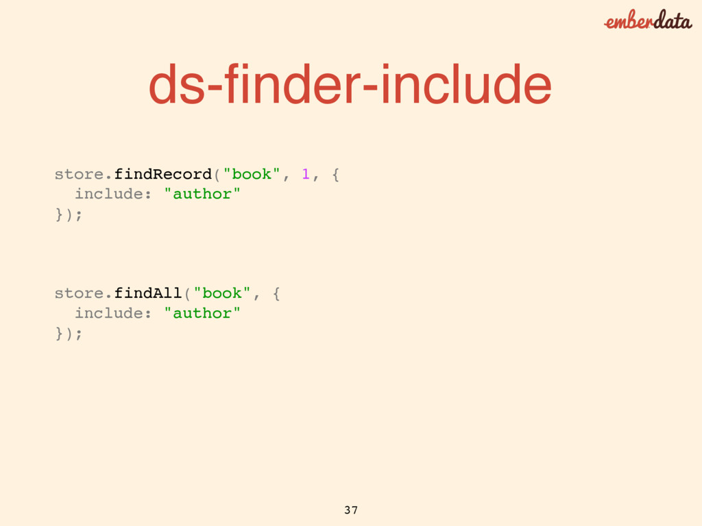 """ds-finder-include store.findRecord(""""book"""", 1, { ..."""