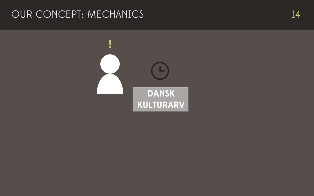 DANSK KULTURARV ! 14 OUR CONCEPT: MECHANICS