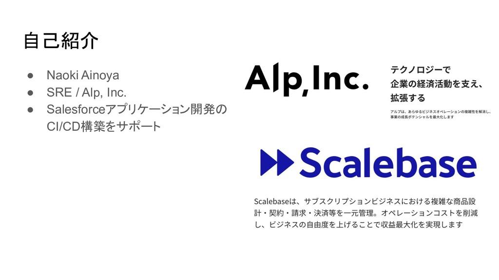 自己紹介 ● Naoki Ainoya ● SRE / Alp, Inc. ● Salesfo...