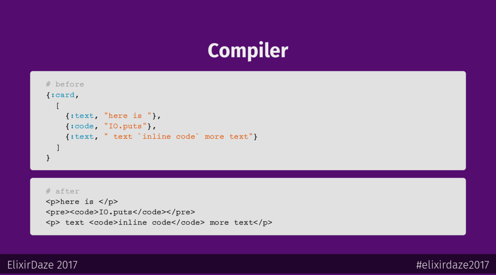 "Compiler # before {:card, [ {:text, ""here is ""}..."