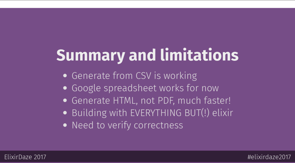 Summary and limitations Generate from CSV is wo...